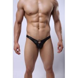 Faux Leather Thong by WangJiang